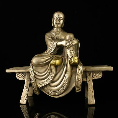 chinese old Copper plating silver hand-made gold drawing bench bench statue e02E