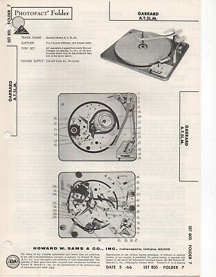 1966 Garrard A.t.5L.m Record Player Changer Service Manual Photofact Schematic