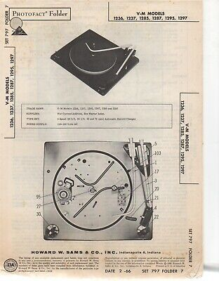 1966 V-M 1236 Record Player Changer Service Manual Photofact 1237 1285 1287 More