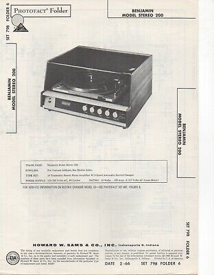 1966 Benjamin 200 Record Player Changer Amp Service Manual Photofact Schematic