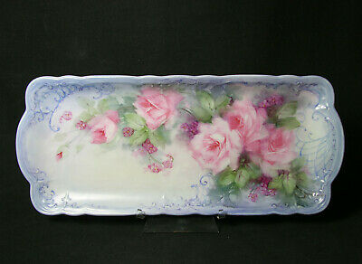 Long Dresser Tray, German Porcelain Blank, Hand Painted Roses Signed