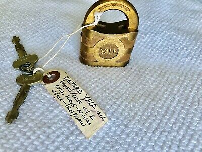 Antique Vintage Yale Brass Padlock & Key Old Locksmith Shop Safe Lock