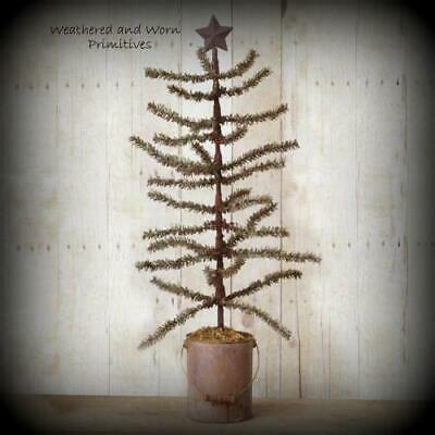 """Primitive  23"""" Pine Christmas Tree with Rusty Star Topper in Rusty Metal Bucket"""