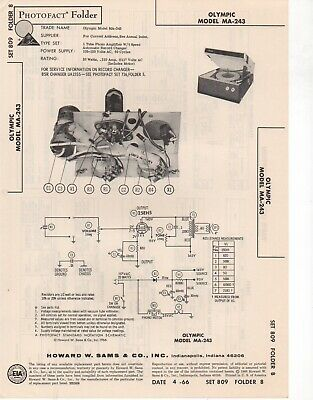 1966 Olympic Ma-243 Record Player Changer Amplifier Service Manual Photofact Fix
