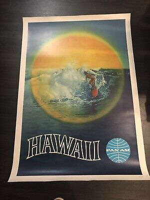 Vintage And Original Pan Am Airlines Hawaii Travel Poster!!