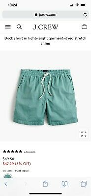 Dock Short In Lightweight Garment-dyed Stretch Chino, Mens X-Small, Surf Blue