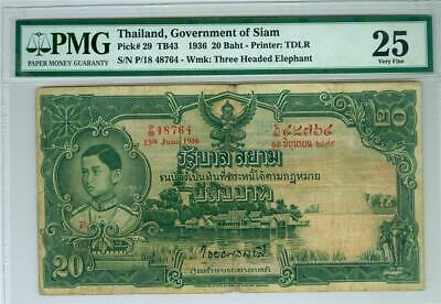 Thailand Government Of Siam 1936 20 Baht P-29 Pmg Vf-25. Scarce Type