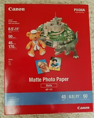 Canon PIXMA Matte Photo Paper 8.5 x 11 Inches, 2 Packs of 50 Sheets MP101