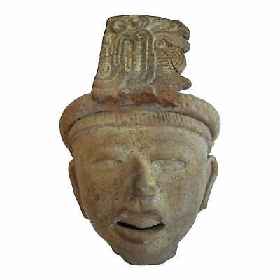 Mayan Pre-Columbian Terra-cotta Bust With Feathered Headdress, 400-700 CE