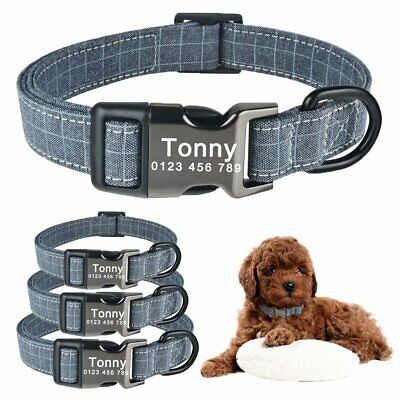 Dog Collar Personalized Fabric Custom Engraved Puppy ID Name Dog Control S M L