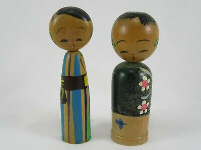 Pair of Vintage Old Japanese Wood KOKESHI DOLLS  3 inch / 8 cm