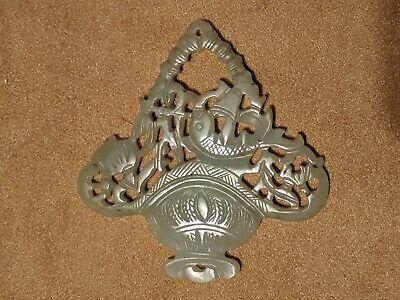 Carved Antique Chinese Jade Two Sided Openwork Amulet Pendant Medallion Plaque