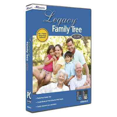 Legacy Family Tree Deluxe Version 8 Windows Software DVD-ROM No.1 Genealogy Soft