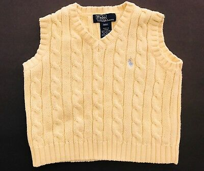 POLO Ralph Lauren Toddler Boys Cable Knit Sleeveless Sweater Vest Size 3T Yellow