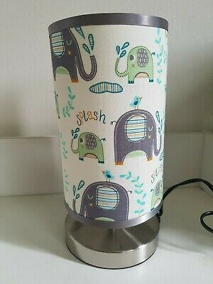 Bedside touch Lamp night light fabric shade nursery elephants