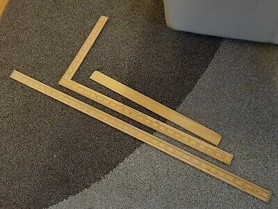 "VINTAGE 35"" RULEX No.1138, 1102 & 600 series B SMITH & SONS WOODEN YARD RULERS"