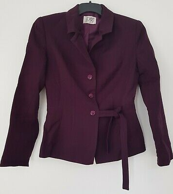 Designer COVERS Fully Lined Tailored PURE WOOL JACKET Work Party Size 8 Purple