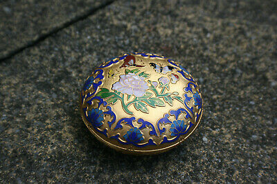 Chinese Cloisonne Carving Flower Butterfly Trinket Beauty Case Box