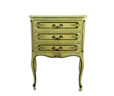 Hollywood Regency French Provincial White Crackled Chest of Drawers Roses Flower