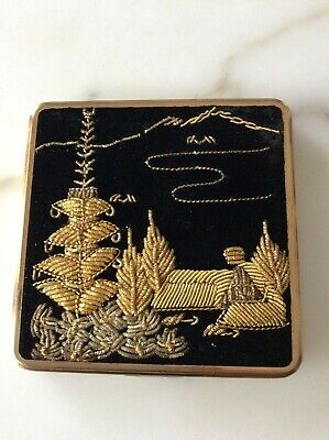 Vintage Queen Star Powder Black Velvet Compact with mirror Gold Embroidered
