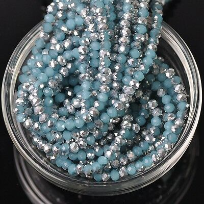 200pcs 3x4mm Rondelle Faceted Crystal Glass Loose Beads Silver&Jade Lake Blue