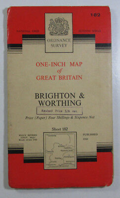 1960 Old OS Ordnance Survey One-inch Seventh Series Map 182 Brighton Worthing
