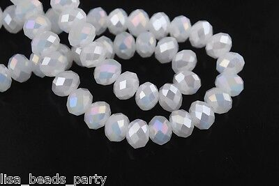 200pcs 2x3mm Faceted Rondelle Crystal Glass Loose Spacer Beads lot Jade White AB