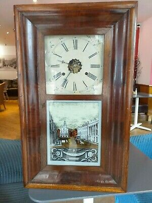 new england american STATE STREET BOSTON USA jerome new haven WALL SHELF CLOCK