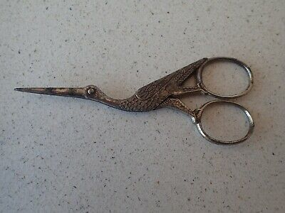 Edwardian c.1920 Stork embroidery scissors