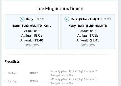 Flugticket  Kerry / Irland  - Berlin 1.09.2019