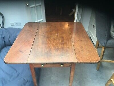 19th century mahogany folding drop leaf table with 1 drawer