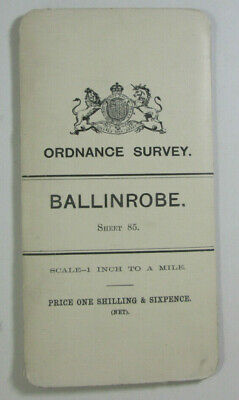 1899 Old OS Ordnance Survey Ireland One-Inch Second Edition Map 85 Ballinrobe