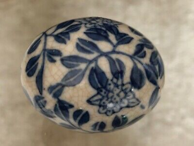 Antique Vintage Chinese blue & white crackle glaze porcelain egg ornament decor