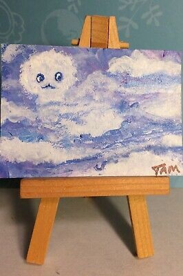 Cloudy Face  ACEO original acrylic painting by artist ATC miniature Cloud Series