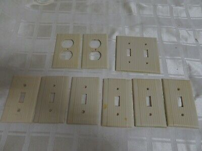 LOT Mid Century Modern Bakelite 9 Light Switch Covers Off White Ribbed Plastic