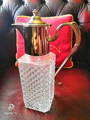 Large Antique Cut Glass Decanter, Silver Plated