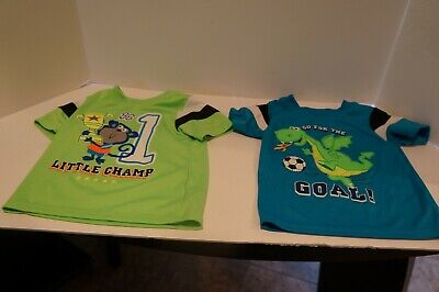 Infant Boy's Lot Of 2 Short Sleeve Sports Tops By Garanimals Size 6-9 Months