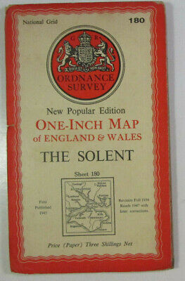 1947 Old OS Ordnance Survey One-Inch New Popular Edition Map 180 The Solent