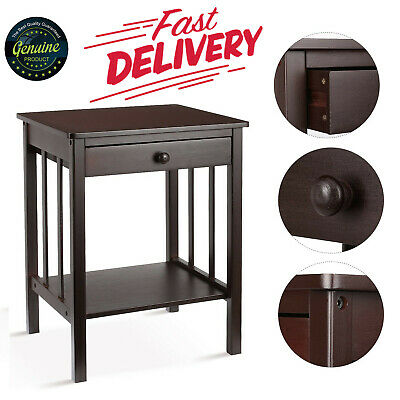 Night Stand Bamboo Drawer Shelf Storage Side Table Retro Classic Brown Bedroom