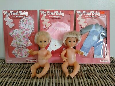 Pedigree My First Baby Doll Bundle ~  Vintage Vinyl Baby Dolls & Outfits 1970s