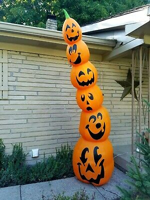 8 Foot PUMPKIN STACK Lighted Airblown Inflatable Halloween yard outdoor Gemmy