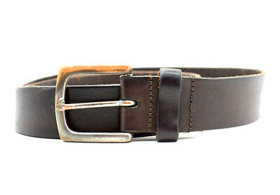Vintage Hand Made Mens Leather Belt Brown Size 32