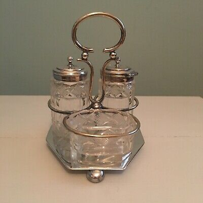 vintage glass salt,pepper & Mustard pots