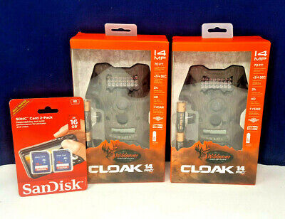 Wildgame Innovations Cloak 14 Pro Game Camera Set of 2 Plus 2 SD Cards! New!