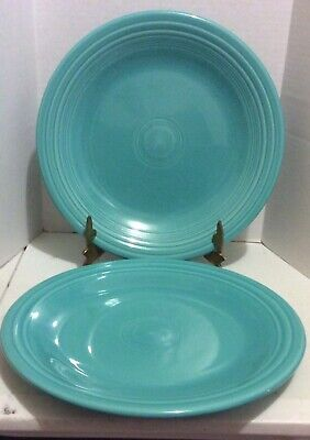 Set Of 2 Fiestaware Turquoise Blue Dinner Plates Plate Fiesta 10 1/4""