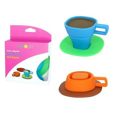 2pc Tea Cup / Coffee Espresso Mug with Saucer, Collapsible Silicone