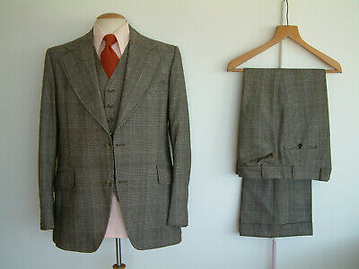 """1970's 3 PIECE SUIT..FLARED..44"""" x 38""""..PERMANENT TURN UP'S..SEXTON..NUTTER..ROW"""