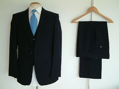 """3 PIECE SUIT..40"""" x 36""""..PINSTRIPE..VINTAGE 1980's..MADE IN ENGLAND..GOODWOOD.."""
