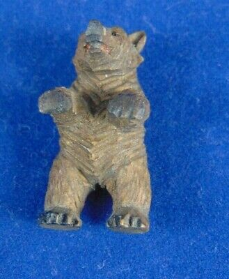 Antique Miniature Black Forest Bear Hand Carved In Wood 3Cm Doll's House Toy