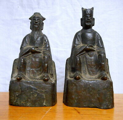 2 EARLY Antique Chinese Bronze Scholar Figures Sculptures